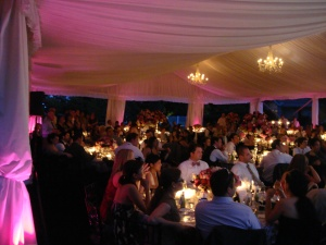 Lighting to enhance a tent celebration